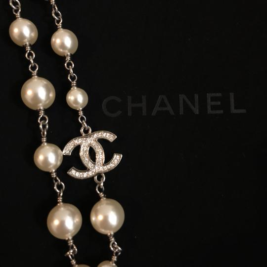 Chanel 2018 Long Pearl Necklace with 5 Rhinestone Crystals CC Logo Image 8