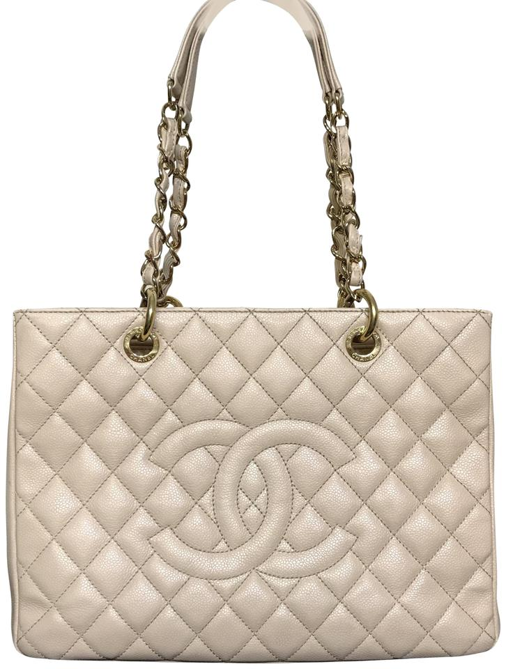 ff978db0d479 Chanel 100%authentic Gst Caviar Gold Hardware Beige Leather Tote ...