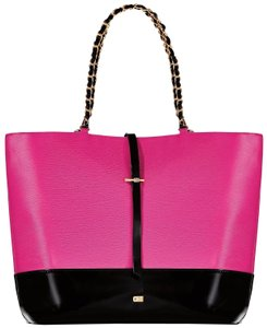 Juicy Couture Leather Gold Large Black Tote in BLACK-PINK