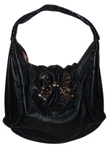 Betsey Johnson Satchel Leather Leather Magnetic Closure Zipper Reptile Skin Trim Horse Shoe Pendant Cell Phone Snake Skin Trim Phone Hobo Bag