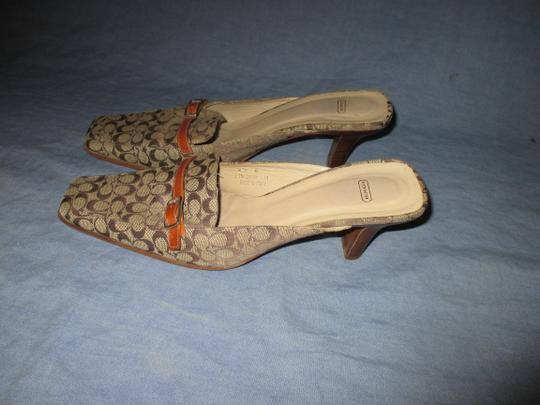 Coach Backless Silver Hardware Stacked Kitten Heel Browns monogram Mules Image 2