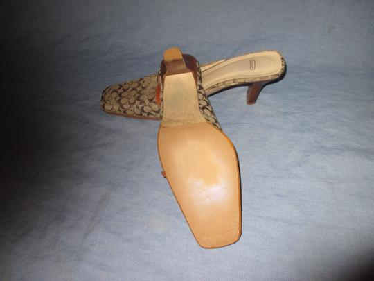 Coach Backless Silver Hardware Stacked Kitten Heel Browns monogram Mules Image 3