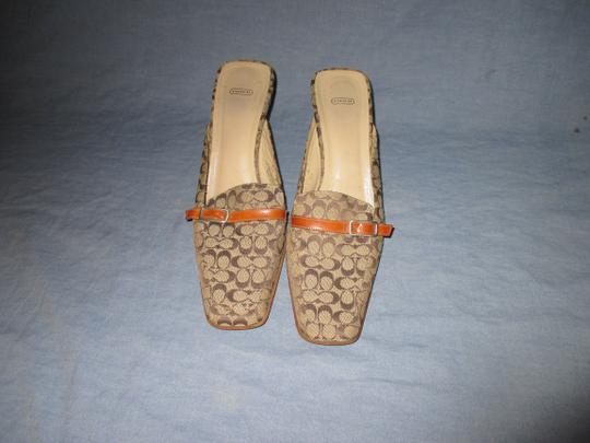 Coach Backless Silver Hardware Stacked Kitten Heel Browns monogram Mules Image 5