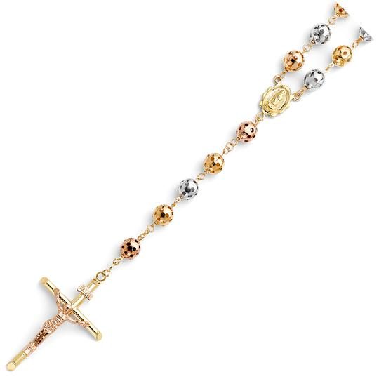 TD Collections 14K Tri Color Gold 8mm Puff Ball Rosary Necklace - 26
