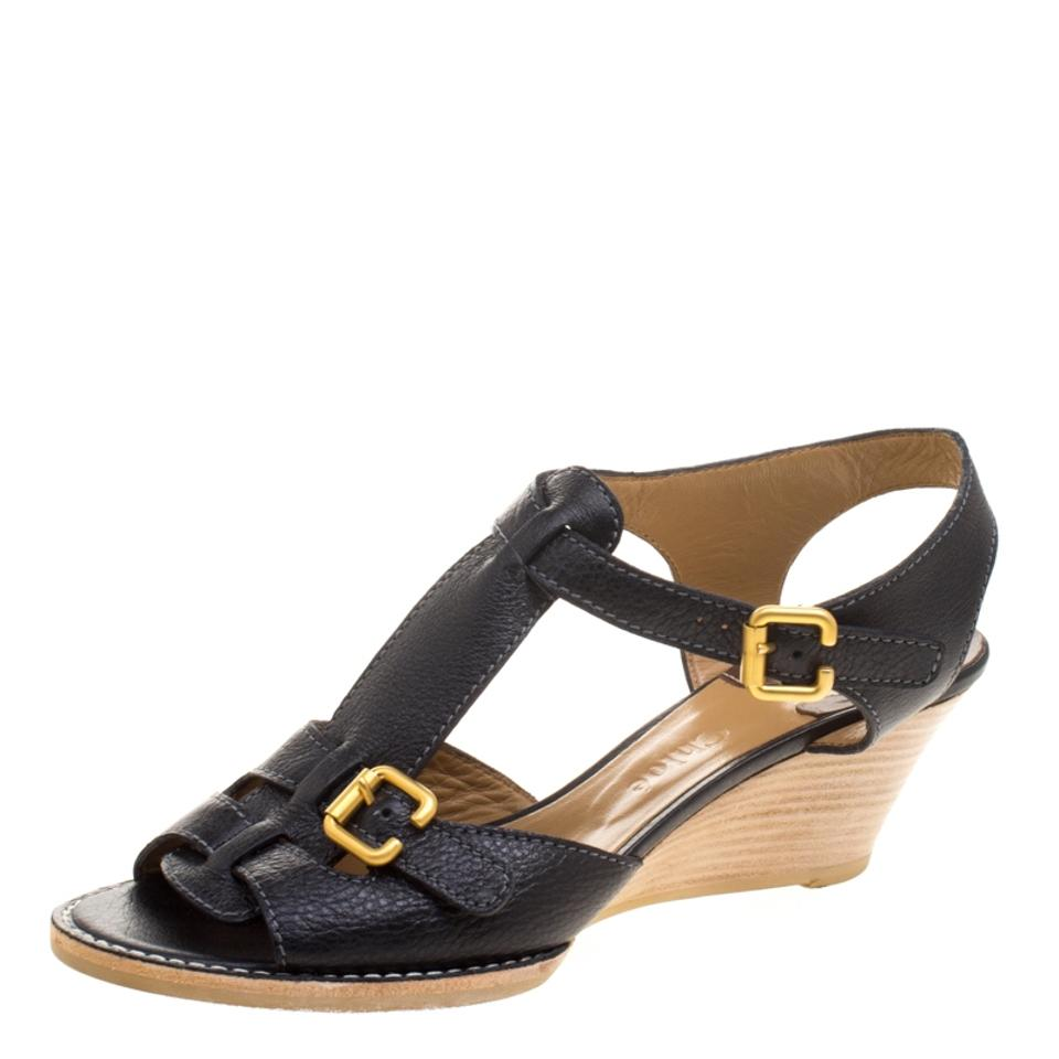 Chloé Leather Black Leather Chloé T-strap Wooden Wedge Sandals 40ce5c
