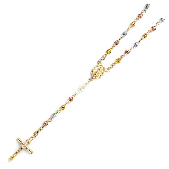TD Collections 14K Tri Color Gold 4mm Puff Ball Rosary Necklace - 26