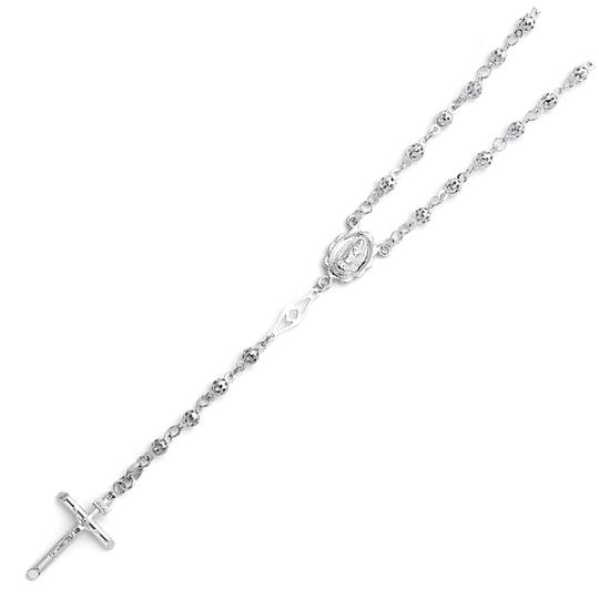 TD Collections 14K White Gold 4mm Puff Ball Rosary Necklace - 26