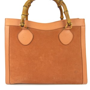 Gucci Multi-compartment Restored Lining Classic Brown Color Or Tote Excellent Vintage Satchel in orange suede and leather with bamboo handles