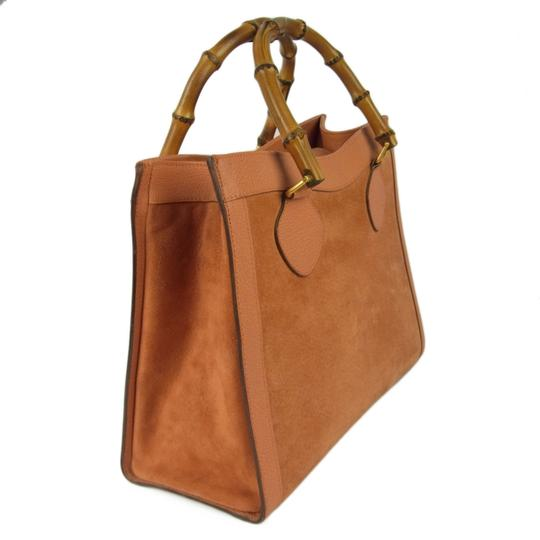 Gucci Multi-compartment Restored Lining Classic Brown Color Or Tote Excellent Vintage Satchel in orange suede and leather with bamboo handles Image 1