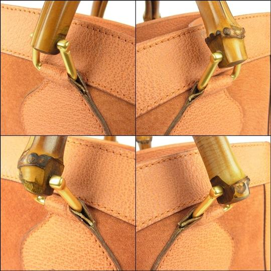 Gucci Multi-compartment Restored Lining Classic Brown Color Or Tote Excellent Vintage Satchel in orange suede and leather with bamboo handles Image 4