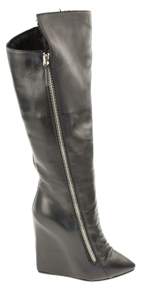 5a845d5b1ea Giuseppe Zanotti Black Leather Guaz Fur Lined Wedge Knee High Boots ...