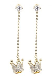 Ocean Fashion Fashion gold pendant crown small crystal earrings
