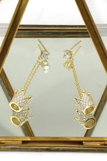 Ocean Fashion Fashion gold pendant crown small crystal earrings Image 1