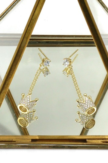 Ocean Fashion Fashion gold pendant crown small crystal earrings Image 2