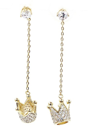 Ocean Fashion Fashion gold pendant crown small crystal earrings Image 3