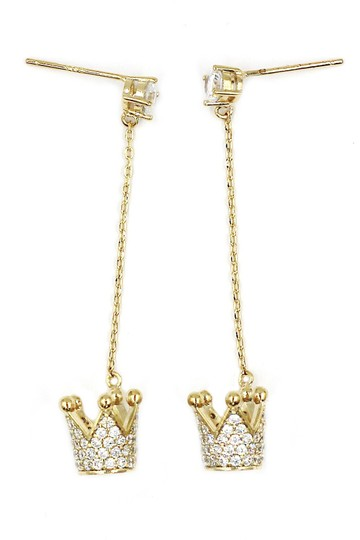 Ocean Fashion Fashion gold pendant crown small crystal earrings Image 4