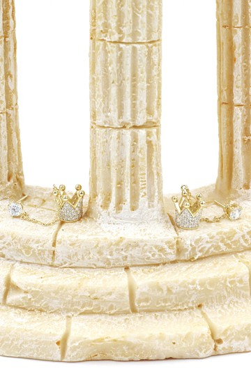 Ocean Fashion Fashion gold pendant crown small crystal earrings Image 6