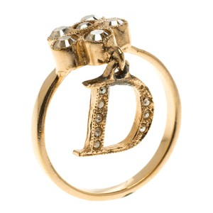 Dior Flower Crystal Rose Gold Tone D Charm Ring Size 56