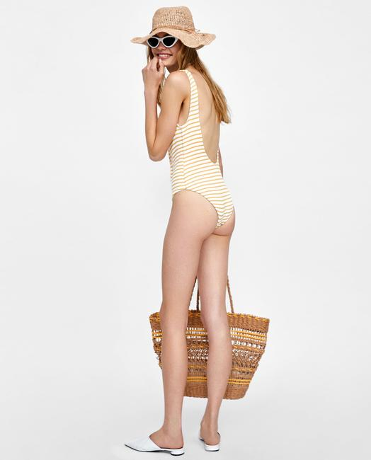 Zara Striped Lace Up One Piece Swimsuit With Metal Eyelet Size L Image 2