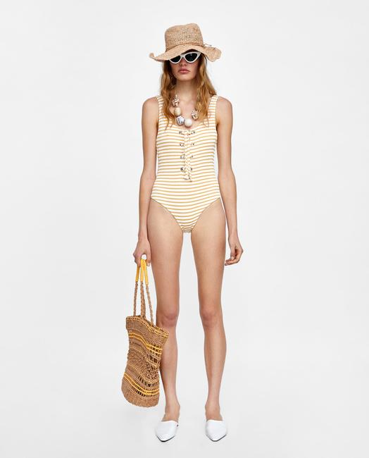 Zara Striped Lace Up One Piece Swimsuit With Metal Eyelet Size L Image 3