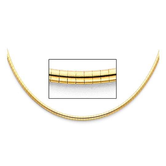 TD Collections 14K Yellow Gold 2.5mm Reversible Omega Necklace - 18
