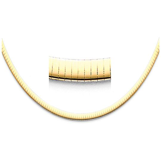 TD Collections 14K Yellow Gold 4mm Reversible Omega Necklace - 16
