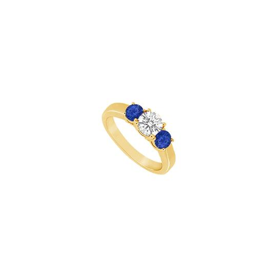 DesignerByVeronica Three Stone Created Sapphire and Cubic Zirconia Ring Image 0