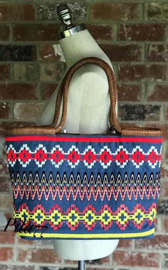 Tory Burch Braided Fleming Summer Tote in Chambray Image 11