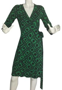 Diane von Furstenberg short dress Black and green Dvf Wrap Wrapdress Vintage on Tradesy