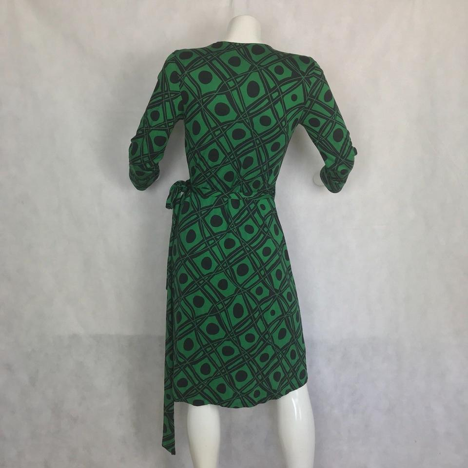 b86dd00e4ea20 Diane von Furstenberg Black and Green Julian Vintage Wrap Short Casual Dress  Size 4 (S) - Tradesy