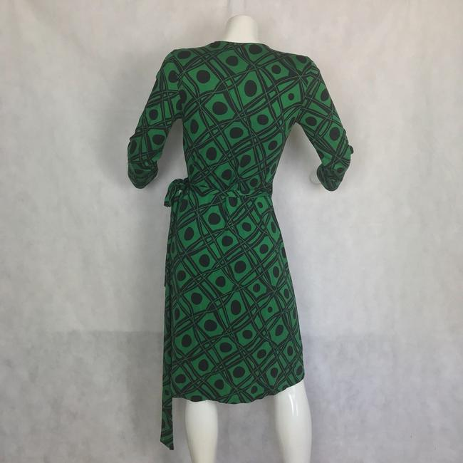 Diane von Furstenberg short dress Black and green Dvf Wrap Wrapdress Vintage on Tradesy Image 2