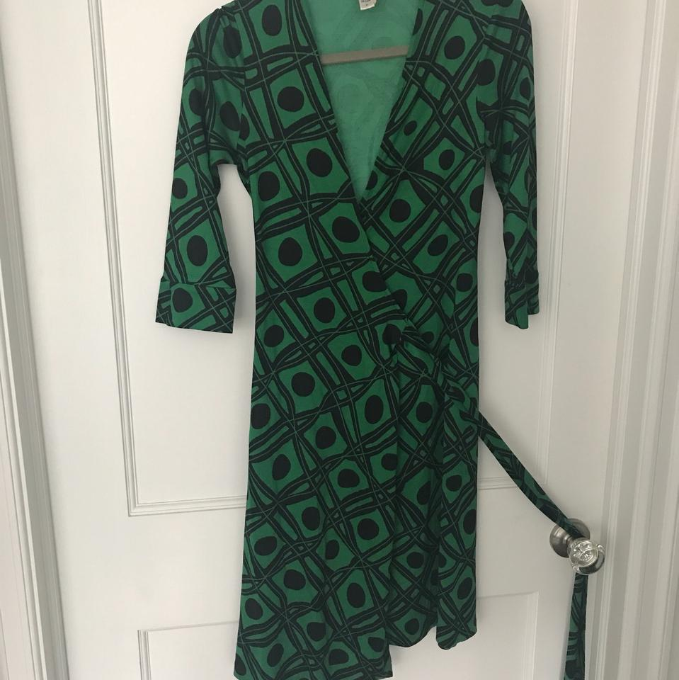 4b97b039dd2 Diane von Furstenberg Black and Green Julian Vintage Wrap Short Casual Dress  Size 4 (S) - Tradesy