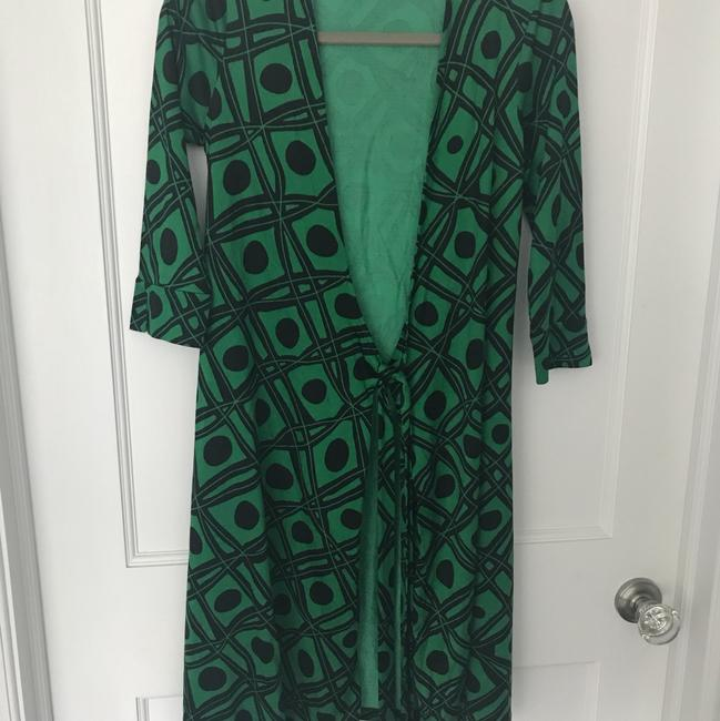 Diane von Furstenberg short dress Black and green Dvf Wrap Wrapdress Vintage on Tradesy Image 5