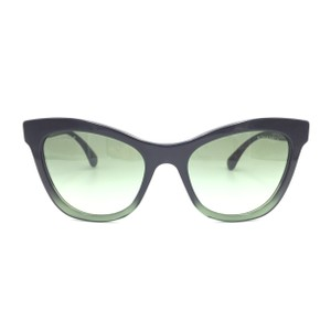Chanel Black Green Cat Eye Gradient 5350 1558/S2 Sunglasses