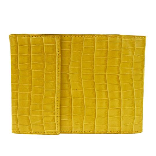 Céline CELINE Logo Bifold Wallet Purse Embossing Leather Yellow Italy Image 2