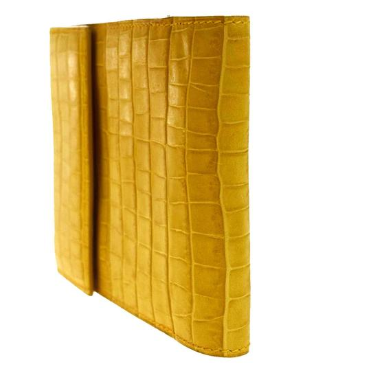 Céline CELINE Logo Bifold Wallet Purse Embossing Leather Yellow Italy Image 3