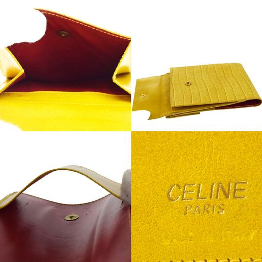 Céline CELINE Logo Bifold Wallet Purse Embossing Leather Yellow Italy Image 7