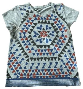Lucky Brand T Shirt Gray with Charcoal, Red, and Royal Blue