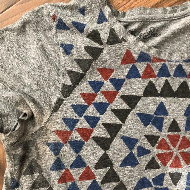 Lucky Brand T Shirt Gray with Charcoal, Red, and Royal Blue Image 1