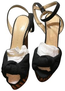 5d012eb8a696 Charlotte Olympia Black Linen Large Bow with striped Wedge Heel Wedges