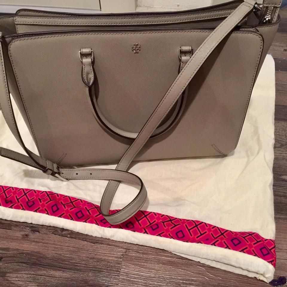 Tote Zip Grey Satchel Large French Burch Leather top Robinson Tory wf7H1qXw