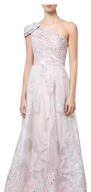 Preload https://img-static.tradesy.com/item/23627389/marchesa-notte-silver-peach-one-shoulder-embroidered-gown-long-formal-dress-size-6-s-0-1-650-650.jpg
