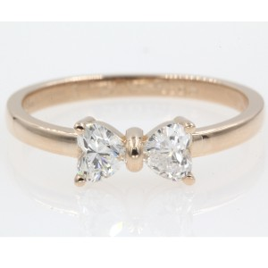 18k Rose Gold 2 Heart Shaped Bow .50 Carat Engagement Ring