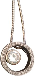 Jeweler DIAMOND AND 14K WHITE GOLD PENDANT (CENTER STONE IS BRIGHT, CLEAR CZ)