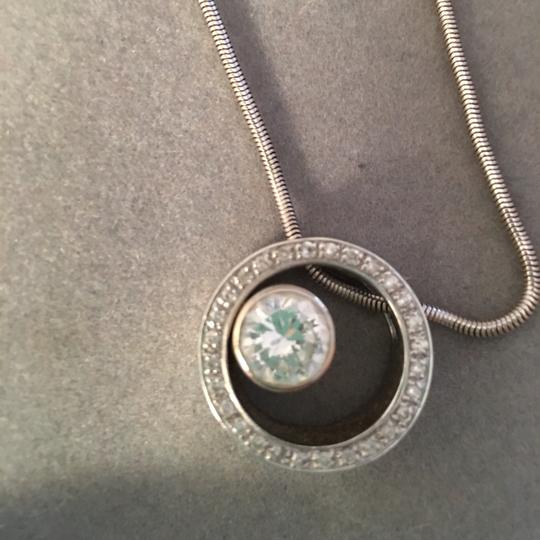 Jeweler DIAMOND AND 14K WHITE GOLD PENDANT (CENTER STONE IS BRIGHT, CLEAR CZ) Image 1