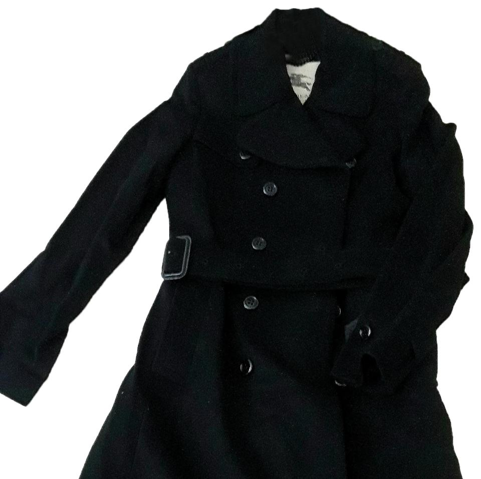 efcb23361c636 Burberry London Black Double Breasted In Wool Cashmere Coat Size 8 ...