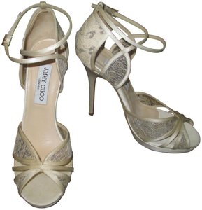 Jimmy Choo Wedding Formal Trim Satin Blush with White and silver lace overlay. Pumps