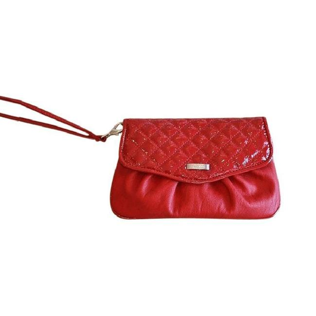 Item - Quilted Clutch/Bag Red Faux Patent Leather Clutch