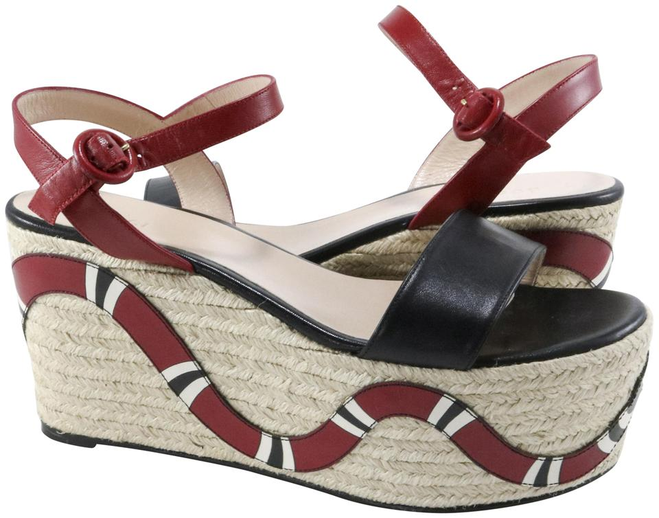 a71eb87b08a Gucci Red Black White Malaga Kid Snake Espadrilles A777 Platforms ...