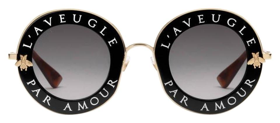 25aa0c30373 Gucci NEW Gucci GG 0113 S Blind for Love Black Round Sunglasses  620 Image  0 ...